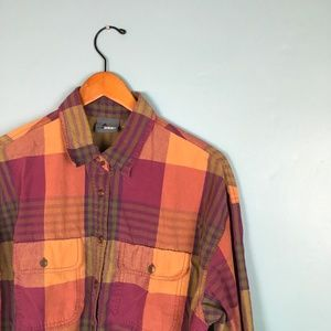 Liz Claiborne | Button Down Plaid Shirt Top L